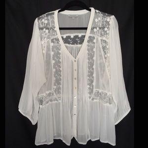🎱World Market White Embroidered Sheer Blouse
